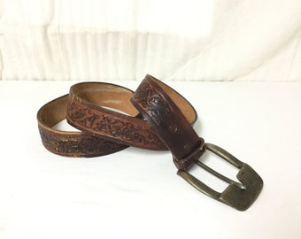 "Tooled Leather Belt, Large Buckle, 36"",brown,leather belt"