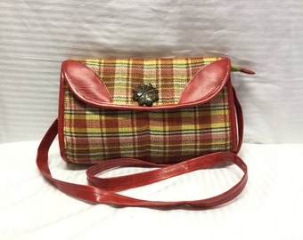 Red Plaid Shoulder Bag, Red, Vegan Leather, Faux leather, red,purse,bag