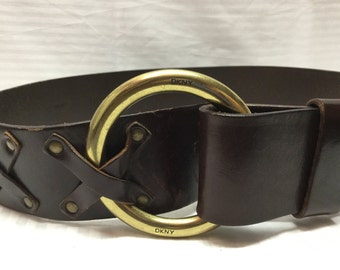 DKNY, Leather Belt, Brown,leather,belt, Boho Belt, Small Belt, Adjustable
