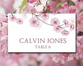 """Cherry Blossom Wedding Place Card Template Download - Escort Card Japanese """"Cherry Blossom"""" Wedding Table Card Pink - DIY Wedding Name Card"""