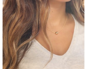 gold bead necklace 14K gold filled ball necklace • floating dot necklace • single bead necklace • layered necklace • minimalist jewelry•B114