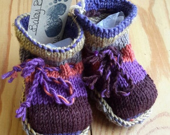 Baby bootees,  hand knitted , wool and sheepskin