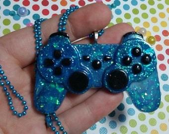 Super sparkly blue PS controller necklace