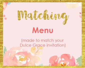 Printable menu file, bridal shower menu card, baby shower menu, matching menu cards, personalized menu, co-ordinating menu file, WWP WWB