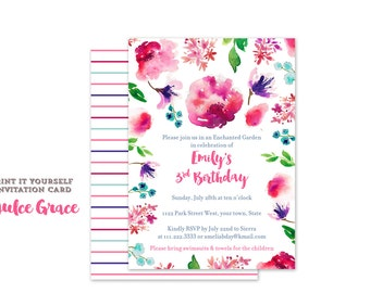 Garden party birthday invitations, enchanted garden birthday party, magical garden invitations, pink floral invitations, 2nd 3rd birthday