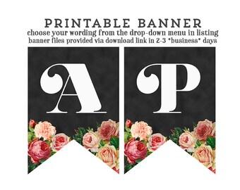 printable chalkboard banner, printable bridal shower banner, vintage chalkboard pennants, blackboard bunting, vintage floral banner