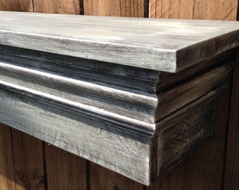 "8"" Deep Floating Fireplace Mantle Shelf with wide Shelf, Distressed Gray Shelf"