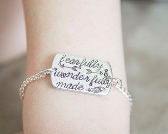 Be Brave Little One - Baby Bracelet for Toddler - Psalm 139:14 Fearfully and Wonderfully Made - Tiny Bracelet for Baby Gift for Christening