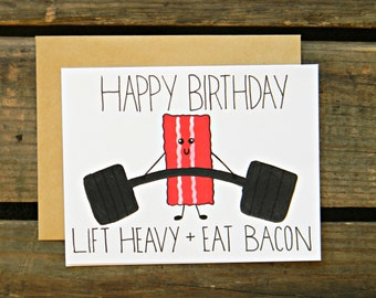 Beachbody/Crossfit/Fitness/Bacon Birthday Card