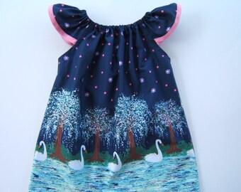 Girls Beach Dress, Flutter Sleeve Dress, Summer Dress, Swans, 3month-8years, Toddler, Baby, Summer Beach Vacation, Coming Home Dress