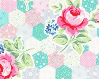 Sale - Half Yard, Lecien Flower Sugar Spring 2015, Hexie Cheater print with Roses in Pink, Gray and Aqua, Japanese Fabric 31128 20