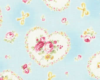 Lecien Princess Rose, Heart Wreaths and Roses in Blue, Half Yard Japanese fabric 31266 70