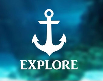 Decal - Anchor Explore - Anchor Decal, Car Decal, Laptop Decal, Macbook Decal, Ipad Decal