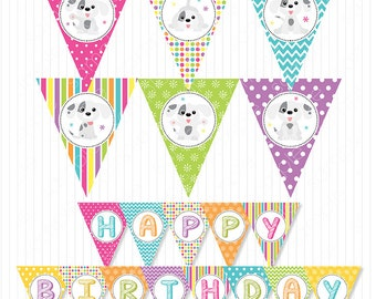 Puppies Party Banners, Bunting Flags , Puppies birthday, puppy banners, Digital Printable Banners, INSTANT DOWNLOAD