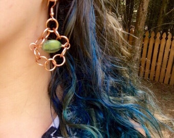 Pure Copper & African Jade Earrings