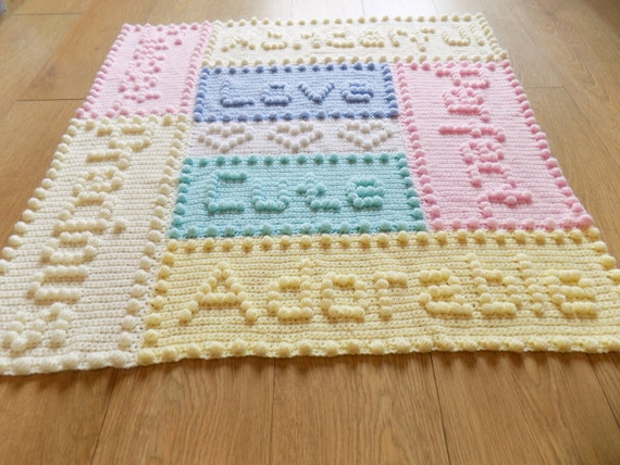 Crocheting Letters Into Blankets : Precious Baby Blanket Crochet PATTERN by by PeachUnicornCrochet