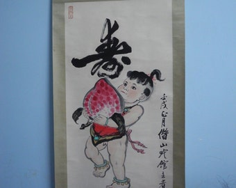 Excellent old Chinese Scroll Painting By Qi BaiShi :kid and peach K16