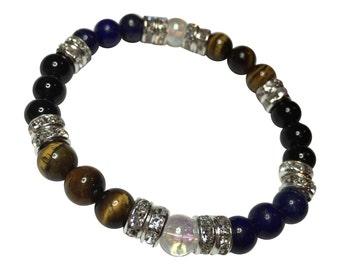 Leader Lapis Lazuli, Tiger's Eye, Obsidian, & Crystal Quartz Beaded Stretch Bracelet