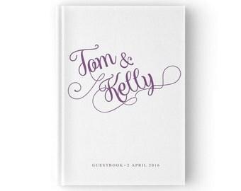 Purple Guest Book, Purple Wedding Guest Book, Custom Wedding Guest Book, Wedding Sign Book