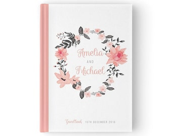 "Wedding Floral Watercolor Guest Book, Guest Sign In Book, Pink and Grey Custom Guest Book, SKU: GB 025, ""Ella"" Collection"