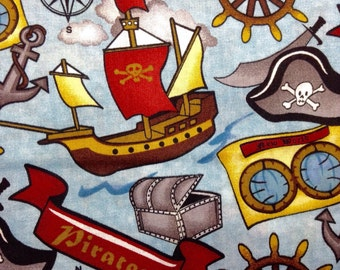 SALE - One Half Yard of Fabric Material - Pirate Collage