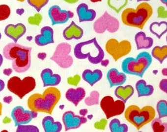 One Half Yard Fabric Material - Colorful Hearts