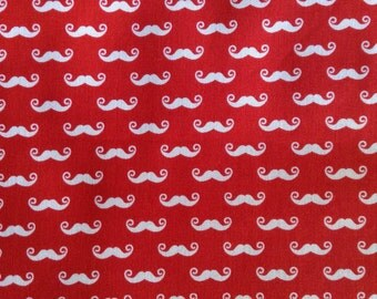 One Half Yard of Fabric Material - Geekly Chic Smaller Dashing Mustaches, Red