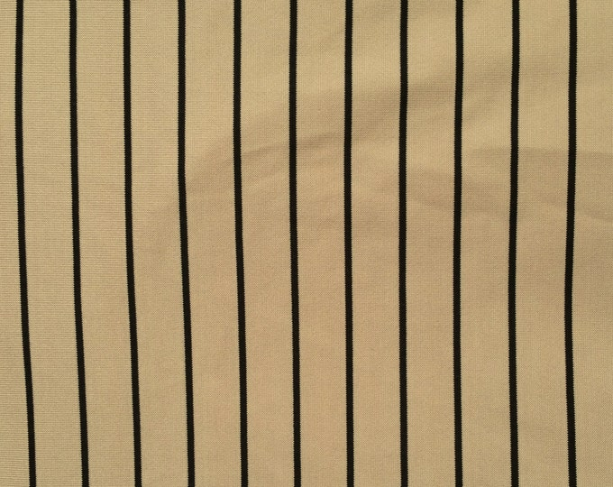 Black & Beige Pinstripe - Polyester/Spandex Jersey Knit Fabric