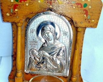 Antique Orthodox Wooden Iconostasis /Wood Art /Wall Hanging/ Pyrography Wooden Iconostasis/  Virgin Mary and Jesus/ Home iconostasis/1950s