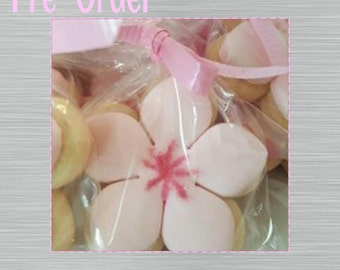 """Cherry Blossom Sugar Cookie 2""""- 12 Sugar Cookies Decorated With Marshmallow Fondant"""