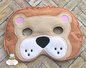 Lion Mask, Kids Dress Up Mask, Lion Costume Mask, Wool Blend Mask, Felt Lion Mask, Jungle Party Favor, Monkey Mask