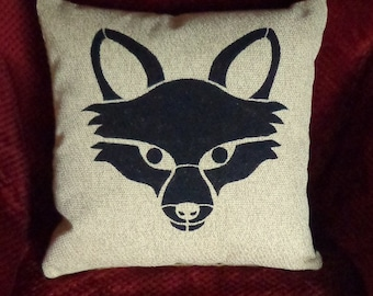 Beige Linen Fox Pillow Cover, Rustic Pillow Cover, Hand Painted Stenciled Pillow Cover, Lodge Pillow Covers,Accent Pillow