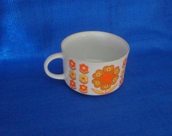 70's Soup Mug,Retro Flower Mug,Vintage Mug,Big Soup Cup