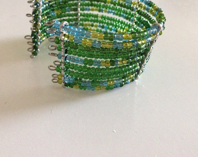 clearance! green and blue glass beaded cuff bracelet