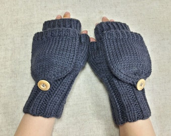 Convertible Fingerless Gloves for kids and teens, dark gray, organic merino wool, arm warmers with flap