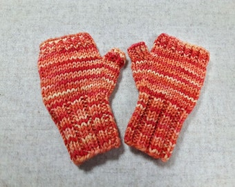 Fingerless Gloves for Babys up to 18 M. Orange Yellow, Mittens 100% Wool Merino, Arm Warmers, handknitted