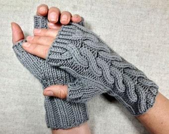 "Fingerless Gloves ""Rapunzel"" taupe, Organic Wool, handknitted Mittens, pure Wool"