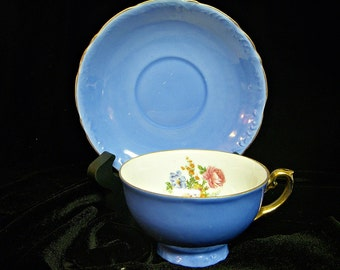 FB & Co BLUE CHINA Footed Teacup and Saucer Set