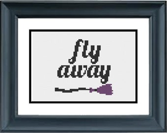Fly Away, Witch Broom - Halloween Cross Stitch Pattern - PDF Cross-Stitch Pattern