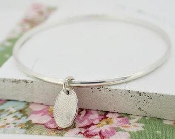 Silver Fingerprint Oval Charm Bangle | Fingerprint Jewellery | Free UK Delivery | Hold upon Heart