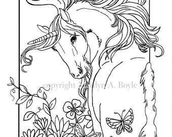 coloring book five pages on 140 lb watercolor paper fantasy unicorns flowers