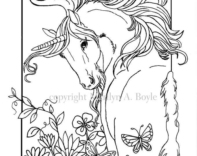 COLORING BOOK- Five PAGES, digital download, Fantasy, unicorns, flowers, butterflies, chickadees, original art