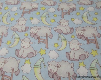 Flannel Fabric - Bedtime Sheep Sky- 1 yard - 100% Cotton Flannel