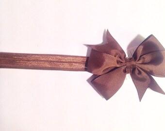Headband brown with bow