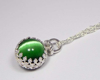 Petite Green Cats Eye Sphere Necklace. Cats Eye Sphere in Wire Crown Setting. Cats Eye Necklace.