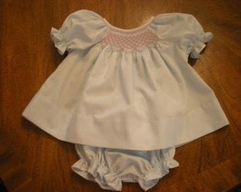 smocked baby diaper shirt dress with diaper cover