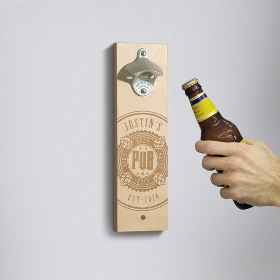 Personalized Wall Mounted Bottle Opener My Pub Gift For