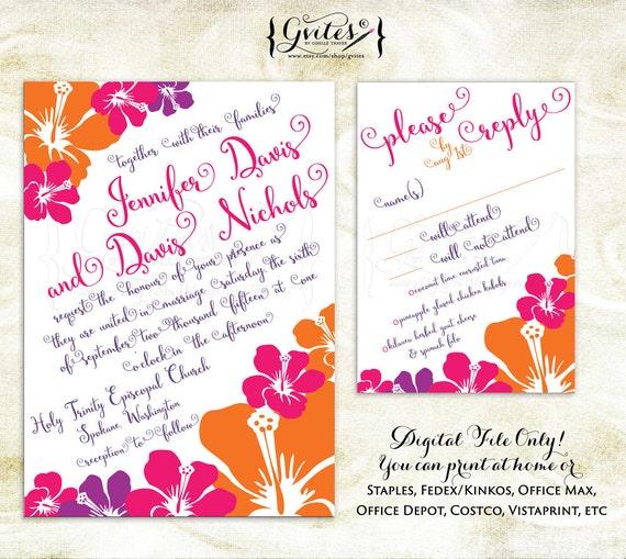 Wedding Invitations Hawaii: Hawaiian Wedding Invitations Luau Wedding Invitation By Gvites