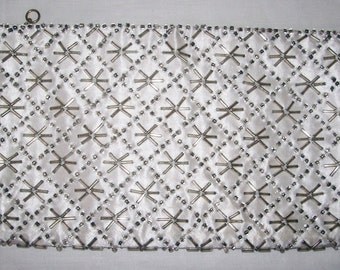 1950s White Satin Silver Glass Beaded Clutch Purse Empire Made