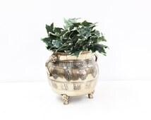 Heavy Oriental Brass Urn with Elephant Head Handles